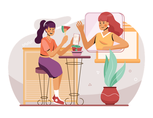 Female employees chatting on video call Illustration