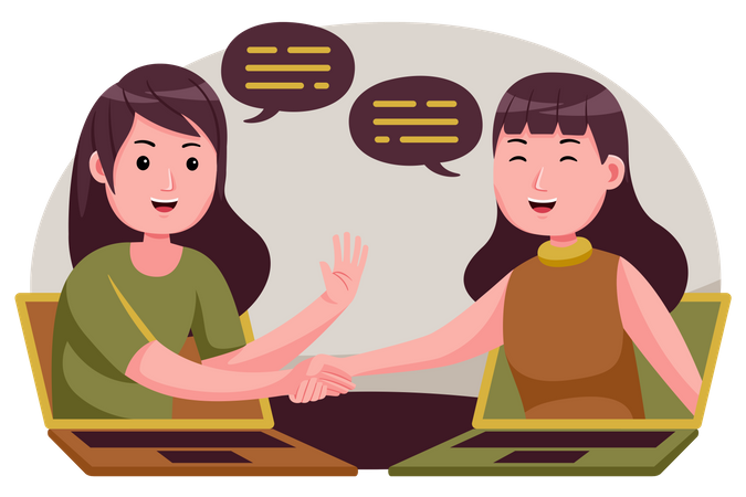 Female employees doing discussion Illustration