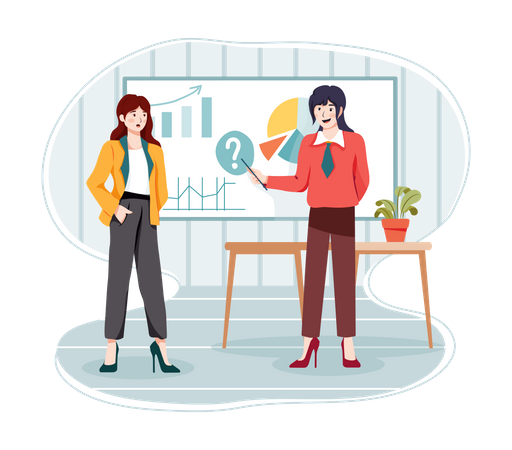 Female employees giving presentation Illustration