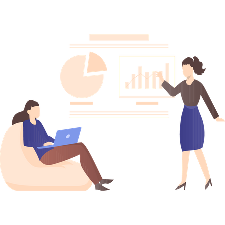 Female employees working on presentation Illustration