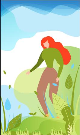 Female enjoying leisure time in garden Illustration