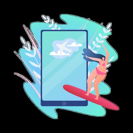 Female enjoying surfboarding Illustration