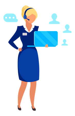 Female entrepreneur doing online meeting Illustration
