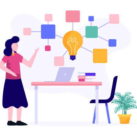 Female executive working on project planning Illustration