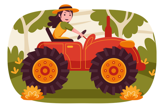 Female farmer driving tractor Illustration