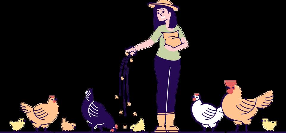 Female farmer feeding chickens Illustration