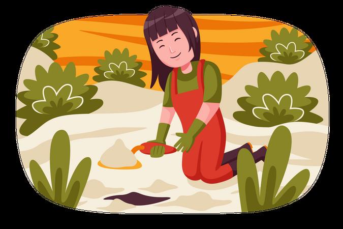 Female farmer planting seed Illustration
