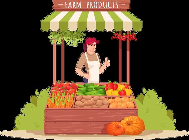 Female farmer sell eco vegetables Illustration