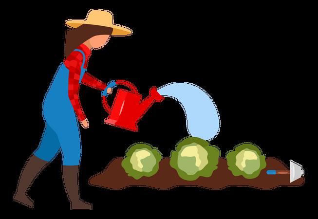 Female farmer watering crops Illustration