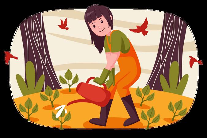 Female Farmer watering in farm Illustration