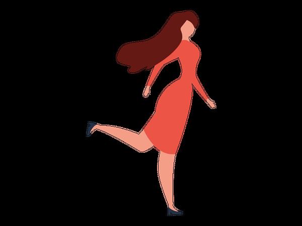 Female fashion model walking Illustration