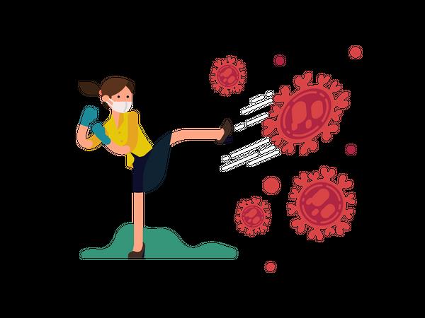 Female fighting against coronavirus wearing gloves and protective mask Illustration