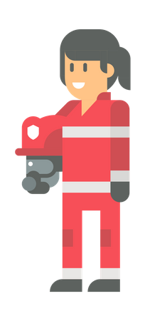 Female Firefighter Illustration