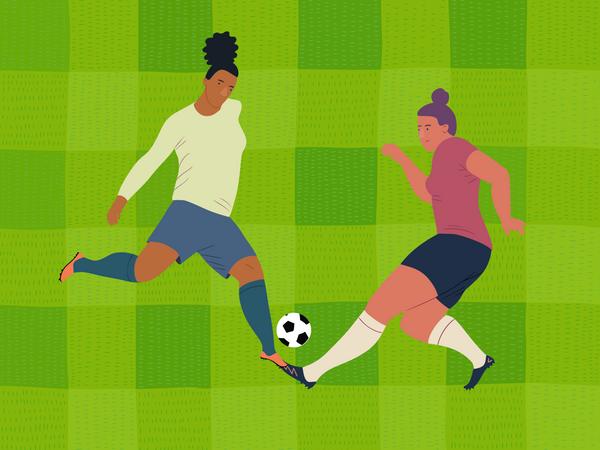 Female footballers playing Illustration
