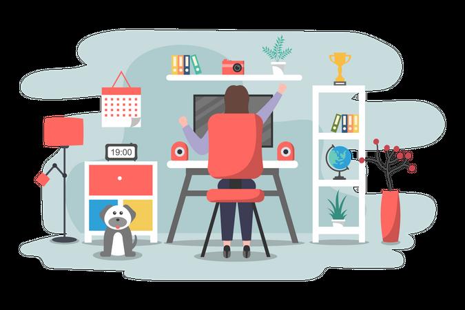 Female freelancer working from home Illustration
