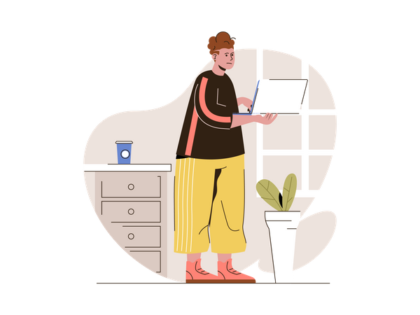 Female freelancer working on project Illustration
