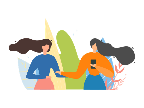 Female Friends Characters Discussing Future Trip Illustration