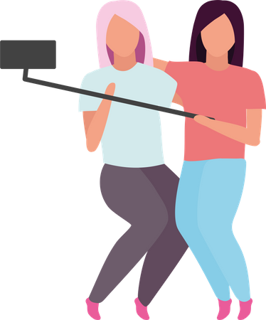 Female friends making photo with selfie stick Illustration