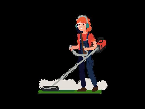 Female garden worker trimming with grass trimmer Illustration