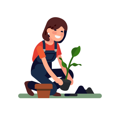 Female gardener is planting a small plant into the ground Illustration