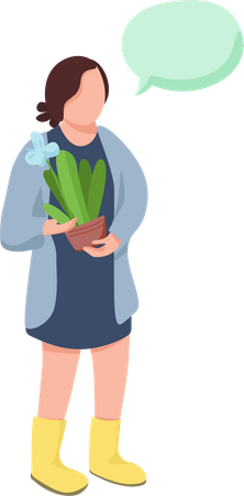 Female Gardener talking with someone Illustration