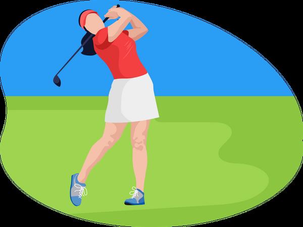 Female golfer Illustration