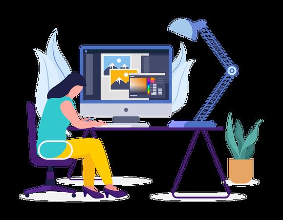 Female Graphic Designer Working on laptop Illustration