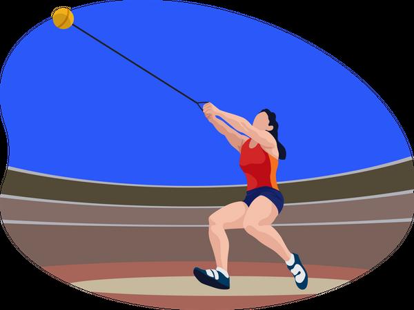 Female hammer thrower Illustration