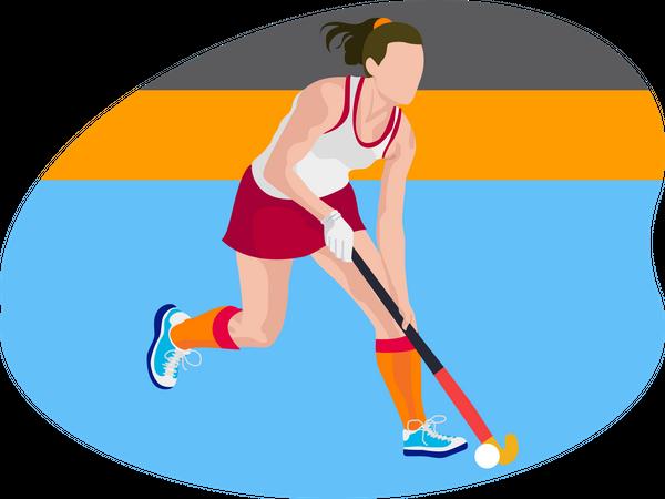 Female hockey player Illustration
