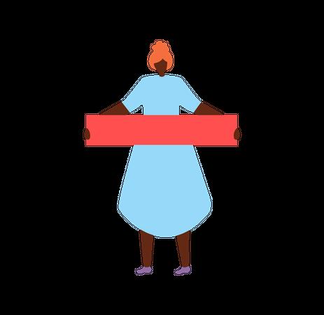 Female holding red banner Illustration