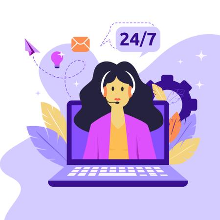 Female hotline operator advises client Illustration