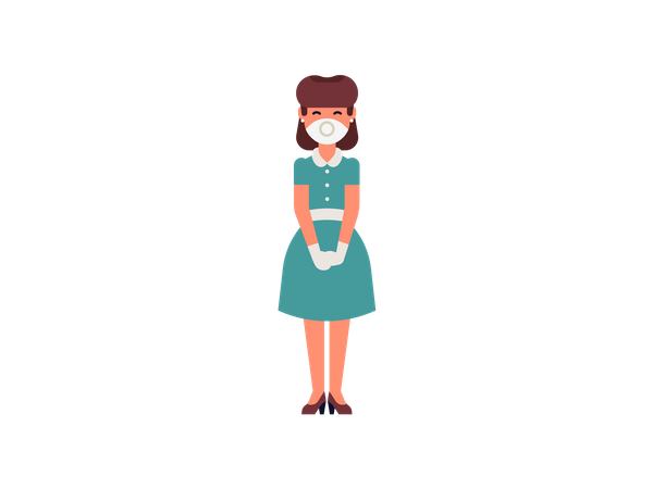 Female housekeeper standing wearing mask and gloves Illustration