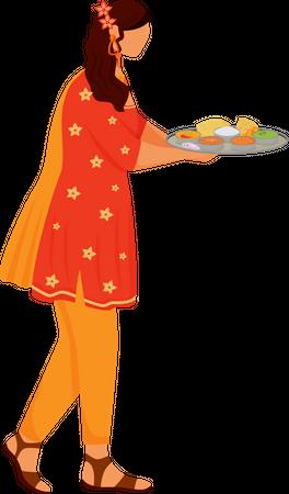 Female Indian wearing sari Illustration