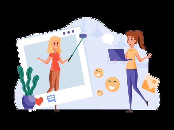 Female Influencer working on social media post Illustration