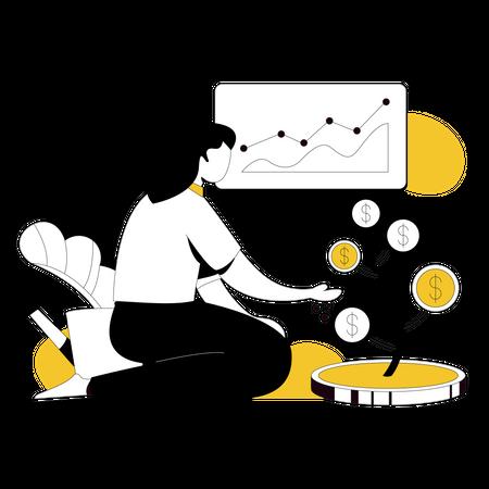 Female Investor analyzing profit Illustration