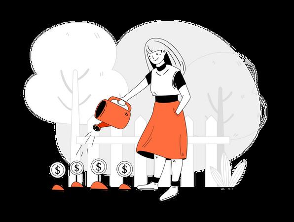 Female investor doing investment Illustration