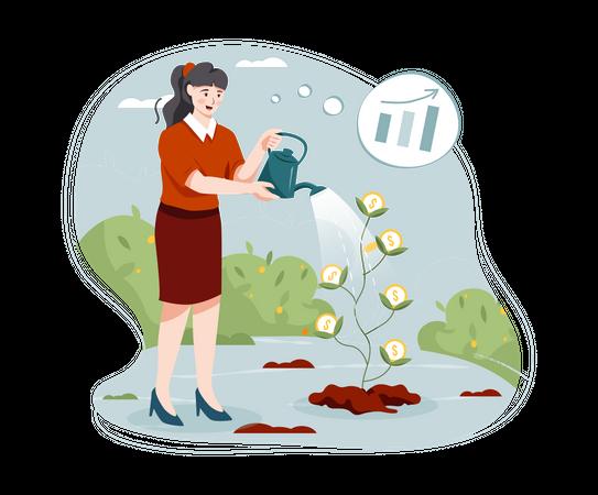 Female investor gaining profit from investment Illustration