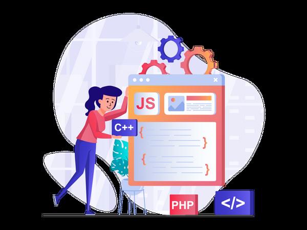 Female Javascript developer Illustration