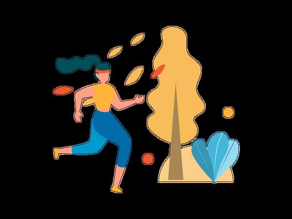 Female jogging in garden Illustration