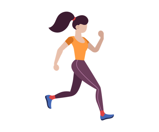 Female jogging slowly Illustration