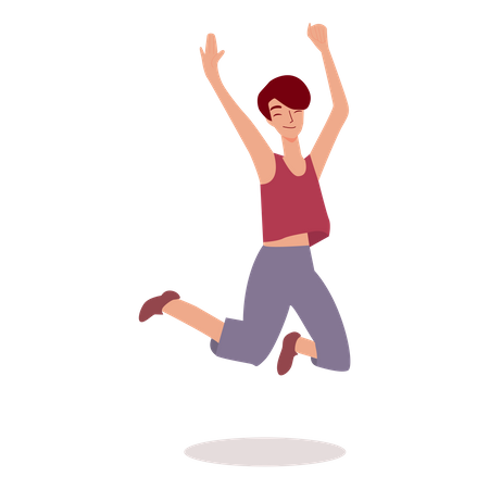 Female jumping in air Illustration
