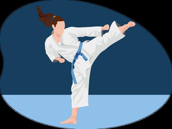 Female Karate Player Illustration
