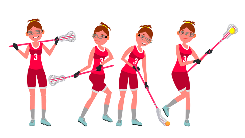 Female Lacrosse Player Vector. Profesional Sport. Holding Lacrosse Stick. Girl S Lacrosse Player. Isolated On White Cartoon Character Illustration Illustration