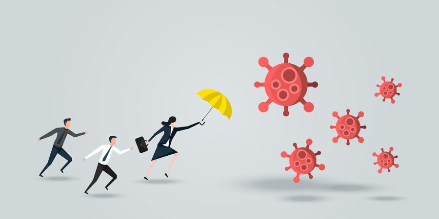Female Leader Protect His Team, a Business Woman With Yellow Umbrella Defense Coronavirus Illustration