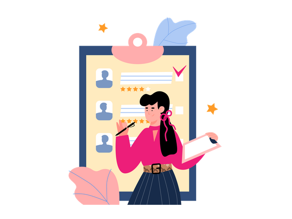 Female manager analyzing candidate list Illustration