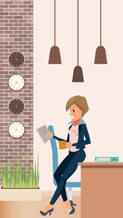 Female manager standing and holding coffee Illustration
