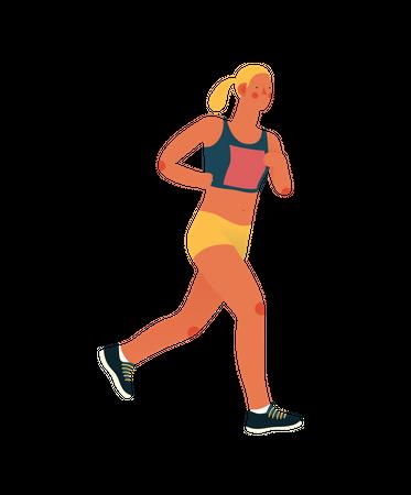 Female marathon runner running Illustration
