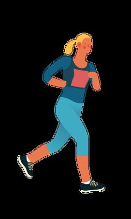 Female marathon runner running in the race Illustration