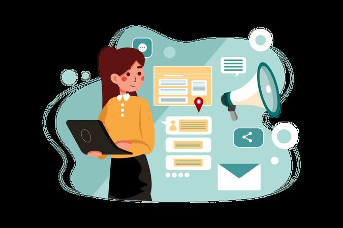 Female marketing employee working on digital marketing Illustration