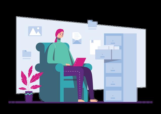 Female marketing employee working on marketing project Illustration